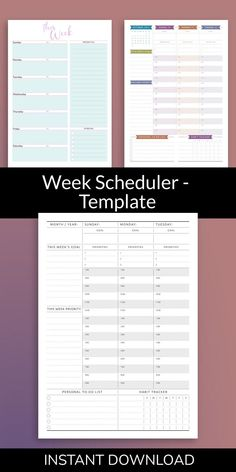 Organize your tasks, assignments and appointments with easy to use Week Scheduler. A more productive you start here! You'll get a ready-to-print PDF file. #weekly #planner #planners #undated #organizer Weekly Schedule Planner, Weekly Goals, Home Planner, Daily Goals, Goals Planner, Wedding Shower Invitations, Unique Invitations, Elegant Wedding Invitations, Planner Template