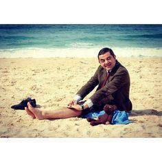 Mr. Bean at the beach with Teddy