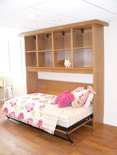 Murphy Beds For Sale | Twin Murphy Bed | Rustic Cherry with Cubbies | California Closets