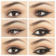 Eyeliner plays vital role in makeup and beauty for women. Here are 6 different eyeliner techniques, which can give your eyes 6 different looks. Peacock Eye Makeup, Dramatic Eye Makeup, Eye Makeup Steps, Smokey Eye Makeup Tutorial, Cat Eye Makeup, Simple Eye Makeup, Eyeliner Tutorial, Dramatic Eyes, Eye Tutorial