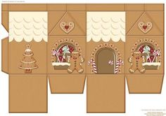 Gingerbread House Milk Carton on Craftsuprint designed by Tracy Barnes - One milk carton sheet to fill with sweets or a small gift. - Now available for download!