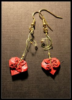 Heart Origami Earrings - Dark Red with Swarovski Crystal pendant. $45.00, via Etsy.