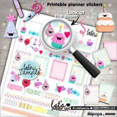 ★New listing! Birthday stickers for print - Party planner stickers