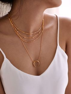 Romwe Moon Pendant Layered Chain Necklace