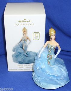 Hallmark Keepsake 2010 Tribute Barbie Doll by designer Robert Best, created for the anniversary of the Barbie Fashion Model Collection Christmas Tree Decorations, Christmas Tree Ornaments, Winter Holidays, 2015 Winter, Christmas Barbie, Hallmark Holidays, O Holy Night, Hallmark Keepsake Ornaments, 10 Anniversary