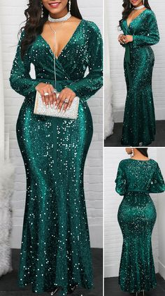Ruffle Hem Plunging Neck Sequin Embellished Dress - New Site Elegant Dresses Classy, Classy Dress, Pretty Dresses, Beautiful Dresses, African Maxi Dresses, Latest African Fashion Dresses, Outfits Dress, Lace Gown Styles, Dinner Gowns
