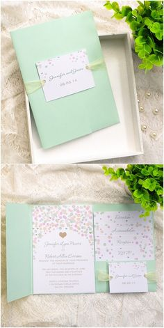 "Pink and Mint Green Polka Dot Pocket Wedding Invitations//Use coupon code ""rpin"" to get 10% off towards all the invitations. #elegantweddinginvites"