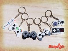 Game controller keyring (Wii, NES, SNES, Xbox, PS, Playstation, Nintendo, Microsoft) hama mini beads by MangoCats