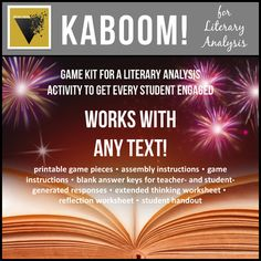 Empower your students to think critically about fiction and nonfiction prose with this highly engaging literary analysis game! Students will beg to play KABOOM as a review, discussion, or oral rehearsal for upcoming assessment. To play KABOOM, students draw literary analysis questions from a cup. Non Fiction, Fiction And Nonfiction, Ap Literature, American Literature, Ap Language And Composition, 8th Grade Ela, Creative Teaching, Teaching Ideas, Readers Workshop