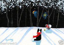 Border Collie Dog Snow Outsider Sheep ball Folk Art PRINT Todd Young WINTER GAME