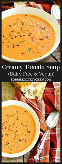 Creamy Tomato Soup - This soup is perfect for everyone. It is easy to make, high in protein, dairy free, vegan, and gluten-free. All of the good stuff with none of the bad. From www.bobbiskozykitchen.com