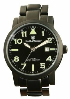 Smith & Wesson Men's SWW-167 Pilot Basic Round Black Face with Black Stainless Steel Strap, Black Watch Smith & Wesson. $38.99. 1-year limited warranty. Has round black face and black stainless steel strap. A scratch resistant hardened mineral glass crystal protects the dial of the watch. Water resistant up to 30-meters (90-feet). Features precision quartz Japanese movement and includes 3 hands to show the hours, minutes and seconds
