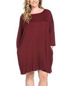 Look what I found on #zulily! Dark Wine Side-Pocket Dolman Tunic Dress - Plus #zulilyfinds