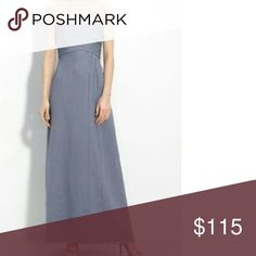 Amsale Slate Strapless Bridesmaid Dress Gorgeous strapless maxi Amsale. Chiffon Bridesmaid dress worn once with slight tear from a high heel on bottom back of dress - not noticeable & easy to mend! Dresses Strapless