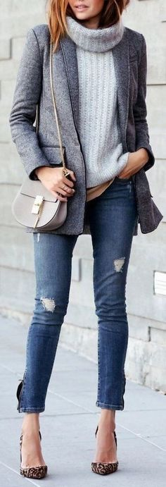 fall casual style obsession / blazer + sweater + bag + ripped jeans + heels