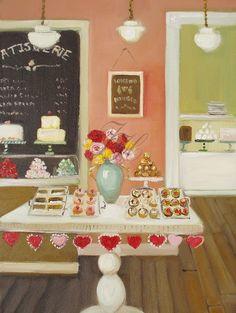 Lovebird Patisserie Open Edition Print by janethillstudio on Etsy, $26.00    Love all her work.