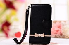 Black Fancy Bow Fashion Wallet Flip Feature with Credit/id Card Slots/holder&strap PU Leather Bling Case Cover For Smart Mobile Phones (ZTE MAX N9520 Boost Mobile)
