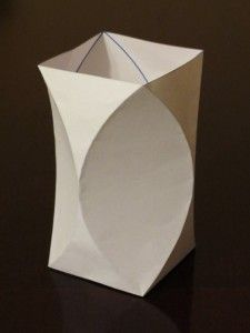 Inspiration. Curved crease vase, with crease pattern.