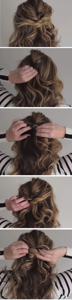 The Twisted Half Up | DIY Wedding Hairstyles for Medium Hair | Easy Bridesmaids Hairstyles Half Up Curls
