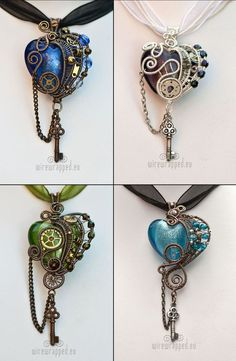 Second batch of new hearts. These are steampunk ones with key charms. Available on Etsy.