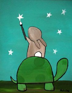 turtles and stars | Childrens Wall Art Painting Stars Turtle and Bunny by andralynn, $100 ...