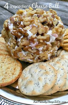 Hands down the best and easiest cheese ball ever! Only 4 ingredients, and Delicious! - KidFriendlyThingsToDo.com