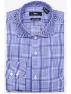 fd613dc70 Hugo Boss - Gerald Men's dress shirt from the BOSS Black collection. Blue  tonal multi