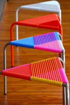 "BEWITCHED BY COLOUR Bewitched by colour, inspired by space, these stools by ""Area-Aesthetics"" from the USA, present at the last International Contemporary Furniture Fair in May in New York. They offer a full range of interior design and decorating services to residential and commercial clients. Reminiscent of African stools, but in a more contemporary way."