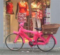 Nice pink fur covered bicycle.
