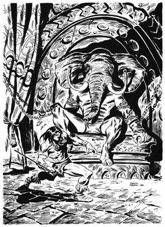 Conan, facing Yag-Kosha, the Imprisoned God by Yara, the evil sorcerer in The Tower of the Elephant. Original artwork by Conan Der Barbar, Conan The Barbarian, Jack Kirby, Ink Illustrations, Cthulhu, Sci Fi Art, Fantasy Artwork, View Image, Fantasy Characters