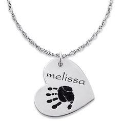 Buy Sterling Silver Engraved Name & Handprint Heart Pendant at Limoges