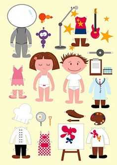 Muñecas para recortar: Parejita de niños con disfraces para recortar