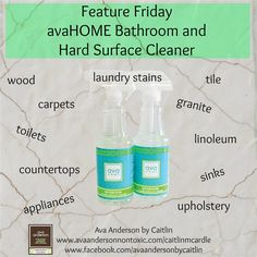 Feature Friday: avaHOME Bathroom and Hard Surface Cleaner  This is my most used Ava Anderson product! I use it multiple times a day for so many things. This is not your traditional cleaning spray! I use it to wipe down all my countertops (including the kitchen island where food preparation and eating often happens) and love that I don't need to worry about what toxins the spray is leaving behind.  The essential oils used are highly disinfectant- anti-fungal, antibacterial, anti-viral…