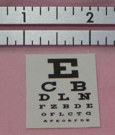 Miniature Optometrist  Optician Eye Test Charts  Dollhouse