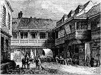 "The Tabard Inn, Southwark, London in Geoffrey Chaucer's ""The Canterbury Tales"" Old Maps Of London, Shakespeare History, Guy's Hospital, Shakespeare's Life, Edinburgh University, Canterbury Cathedral, Canterbury Tales, Victorian London, London History"