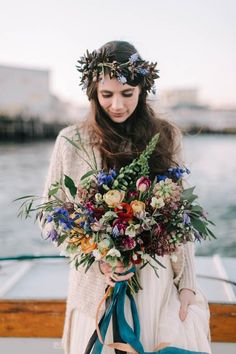Maine Wedding Inspiration at Bangs Island Mussels Barge Wild autumn wedding bouquet and floral crown Fall Wedding Bouquets, Bride Bouquets, Floral Wedding, Autumn Wedding Flowers, Carnation Wedding, Autumn Bride, Lily Wedding, Winter Bride, Flower Bouquets
