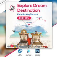 Travel - tours instagram banner Premium Psd Social Media Banner, Social Media Template, Social Media Design, Travel Ads, Travel Tours, Travel Posters, Travel Brochure Design, Travel Design, Banner Design Inspiration