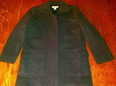 J CREW Wool Coat Women's XS Button Front Grey Charcoal    eBay