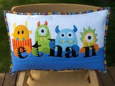 Love this monster pillow! by Don't Look Now (pattern included with monster quilt) Monster Bedroom, Monster Nursery, Quilting Projects, Sewing Projects, Boy Quilts, Sewing Pillows, Quilted Pillow, Little Monsters, Sewing For Kids