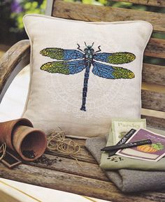 Cross stitch pattern DRAGONFLY cross stitch,needlepoint,embroidery pattern,scandinavian,cross stitch pillow,summer,pillows,cushions,swedish by anetteeriksson on Etsy https://www.etsy.com/listing/188161337/cross-stitch-pattern-dragonfly-cross
