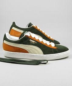 834240b57f4346 Puma Suede Classic forrest night white orange gold  puma  sneakers
