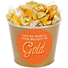 """Say thanks in the sweetest way of all - with a pail of chocolate! This mini-bucket is full of sweet gold goodies, perfect for telling them they're """"worth their weight in gold! Luxury Chocolate, Chocolate Gifts, Bbq King, Traditional Christmas Tree, Gifts Australia, Strawberry Dip, Chocolate Bouquet, Edible Gifts, Christmas Chocolate"""