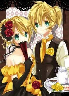 Daughter/Servant of Evil- Rin and Len Kagamine Hatsune Miku Vocaloid, Miku Chan, Len Y Rin, Kagamine Rin And Len, Servant Of Evil, Cute Twins, Kawaii, Me Me Me Anime, Anime Couples