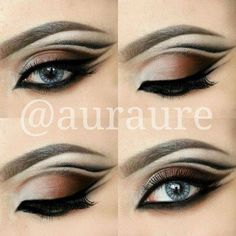 Smokey eye with extra outlining in the corner. Greater look for latin and standard ballroom. Visit http://ballroomguide.com/comp/hair_make_up.html for more hair and makeup info