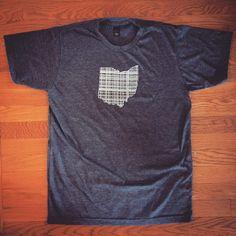Ohio Plaid Tee Shirt white Ink on any Color tShirt