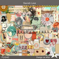 Secret Love | Designs de Wild From 23 January to 5 February 2015 Design de Wild is the featured designer at MScraps. Spend $10 in her shop and you will receive this kit for free.