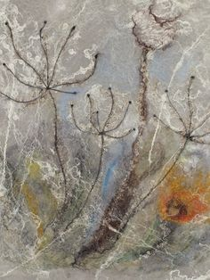 image painted on wet felted wool