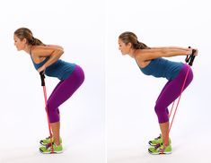 Triceps Press With Resistance Band:  Hold on to either end of a resistance band and step onto the middle of it with both feet so your ankles are directly underneath your hips. Lean forward slightly, bending at your hips. It's OK if your knees are slightly bent.  Complete three sets of 12 to 15 reps.