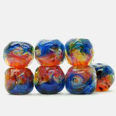 Glow ocean  Lampwork BORO glass beads
