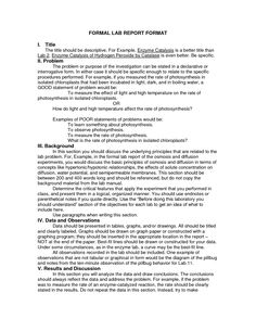 Sample bio lab report